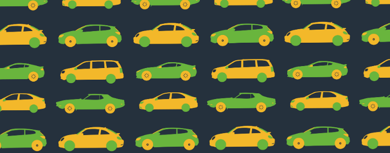 Green and Yellow cartoon cars on black background